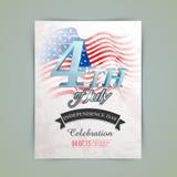 Carta americana dell'invito di festa dell'indipendenza Fotografie Stock Libere da Diritti