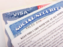 Carta americana di sicurezza sociale e di visto Immagini Stock
