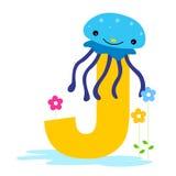 Carta animal del alfabeto - J Imagen de archivo
