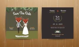 Carta animale dell'invito di nozze del fumetto dello sposo e della sposa Illustrazione di Stock