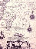 Carta antiga do mar, detalhes Fotografia de Stock