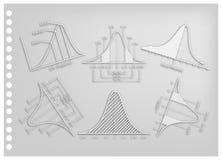 Carta Art Collection della curva di distribuzione normale o gaussiana di Bell Fotografia Stock Libera da Diritti