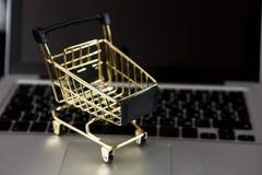 Carta assegni online di acquisto vicino un computer portatile e un mini carrello Immagini Stock Libere da Diritti