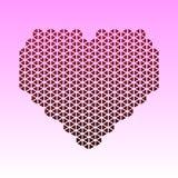 Carta astratta con cuore rosso fatto dei triangoli Un giorno del biglietto di S. Valentino s del cuore del mosaico, ti amo taglio Fotografie Stock Libere da Diritti