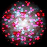 Carta astratta dei biglietti di S. Valentino dei cuori su fondo nero Immagine Stock Libera da Diritti