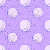 Carta astrológica natal púrpura del modelo inconsútil, muestra del zodiaco Imagen de archivo