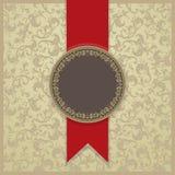 Carta barrocco dell'invito nello stile, nel fondo dell'oro e nella linea rossa antiquati royalty illustrazione gratis