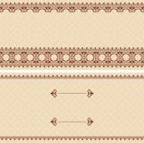 Carta beige con l'ornamento arabo marrone Royalty Illustrazione gratis