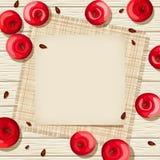 Carta beige su un fondo di legno con le mele rosse ed il licenziamento Illustrazione di vettore Fotografia Stock Libera da Diritti