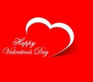Carta bianca di giorno di biglietti di S. Valentino del cuore su fondo rosso illustrazione vettoriale