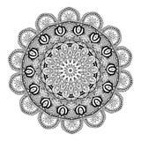 Carta bianca nera dell'ornamento con la mandala Fotografie Stock