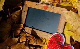 Carta in bianco con il tema di amore del cuore di autunno dello spazio della copia Fotografie Stock Libere da Diritti