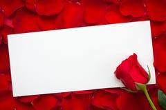 Carta in bianco con la rosa rossa su un fondo di legno Copi lo spazio 8 marzo giorno internazionale della donna Il fiore della ro Immagini Stock