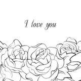Carta in bianco e nero delle rose illustrazione vettoriale