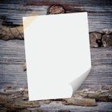 Carta in bianco sul legno immagini stock