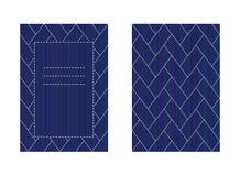 Carta bilaterale di Sashiko isolata sulla cucitura bianca Immagini Stock