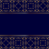 Carta blu con l'ornamento dorato Immagine Stock