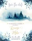 Carta blu dell'invito di natale di colore dell'acquerello con l'albero di Natale Struttura di carta dell'indaco con l'abete di in Fotografia Stock