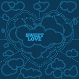 Carta blu per il San Valentino Linea arte Fotografie Stock Libere da Diritti