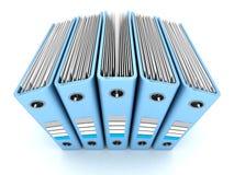 Carta blu Ring Binders del documento dell'ufficio su fondo bianco Immagini Stock Libere da Diritti
