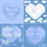 Carta blu stabilita per il giorno di biglietti di S. Valentino Immagini Stock
