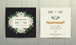Carta botanica dell'invito dei fiori & delle foglie Illustrazione di Stock