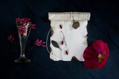 Carta bruciata, scatole, bacche del crespino su un fondo scuro Fotografia Stock