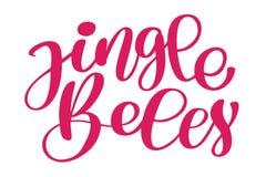 Carta calligrafica di Buon Natale dell'iscrizione di Jingle Bells con Modello per i saluti, congratulazioni, inaugurazione di una Fotografia Stock Libera da Diritti