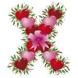 Carta X - Carta de la tarjeta del día de San Valentín ilustración del vector