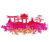 Carta cinese decorativa del paesaggio Immagini Stock