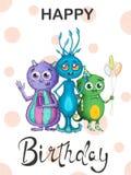 Carta Colourful su un compleanno con i mostri adorabili illustrazione vettoriale