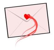 Carta con el corazón rojo Fotografía de archivo libre de regalías