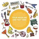 Carta con gli strumenti di musica Immagine Stock Libera da Diritti
