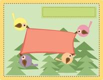 Carta con gli uccelli nel legno Fotografia Stock Libera da Diritti