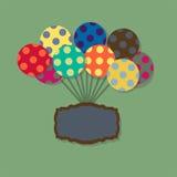 Carta con i palloni di volo nel retro stile Fotografie Stock Libere da Diritti