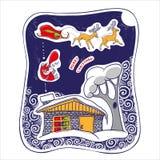 Carta con i regali di Santa Claus, di Natale e una renna della slitta Immagine Stock
