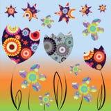 Carta con i tulipani e le margherite variopinti astratti illustrazione di stock