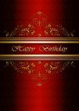 Carta con il buon compleanno su fondo rosso modellato Immagini Stock Libere da Diritti