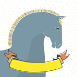 Carta con il cavallo Fotografia Stock