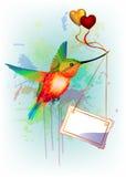Carta con il colibrì dell'arcobaleno e posto per testo Fotografie Stock Libere da Diritti
