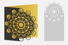 Carta con il modello geometrico floreale per il taglio del laser Progettazione della siluetta Fotografia Stock
