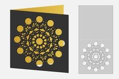 Carta con il modello geometrico floreale per il taglio del laser Progettazione della siluetta Immagini Stock