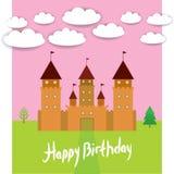 Carta con il paesaggio di favola di principessa del castello Scheda di buon compleanno Vettore Immagini Stock