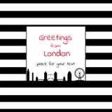 Carta con il posto quadrato per testo con le bande e la città SK di Londra Immagine Stock Libera da Diritti