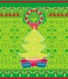 Carta con l'albero e le renne di natale Immagini Stock