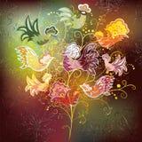 Carta con l'albero ornamentale e gli uccelli variopinti illustrazione di stock