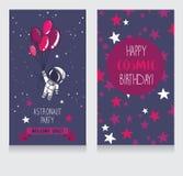Carta con l'astronauta e le stelle svegli nello spazio per la festa di compleanno nello stile cosmico illustrazione vettoriale