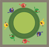 Carta con l'immagine degli uccelli di colore Fotografia Stock Libera da Diritti