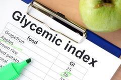 Carta con l'indice glycemic Fotografie Stock