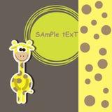 Carta con la giraffa sveglia. illustrazione di vettore Fotografia Stock